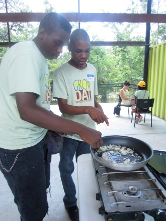 Making collard greens and sautéed kale - youth cooking classes with local chef Ms Lanette Williams