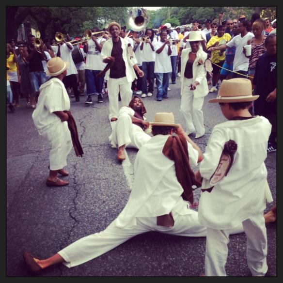 Leo breaking it down in the splits at the beginning of the parade last Sunday