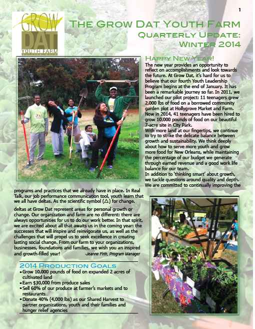 Quarterly Report Winter 2014