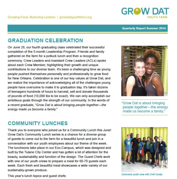 Summer 2014 Quarterly Report